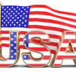 USA text with american flag — Stock Photo #9336521
