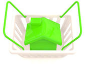 Shopping basket with small house. 3D model — Stock Photo