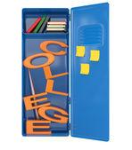 College locker with books. 3D model — Stock Photo
