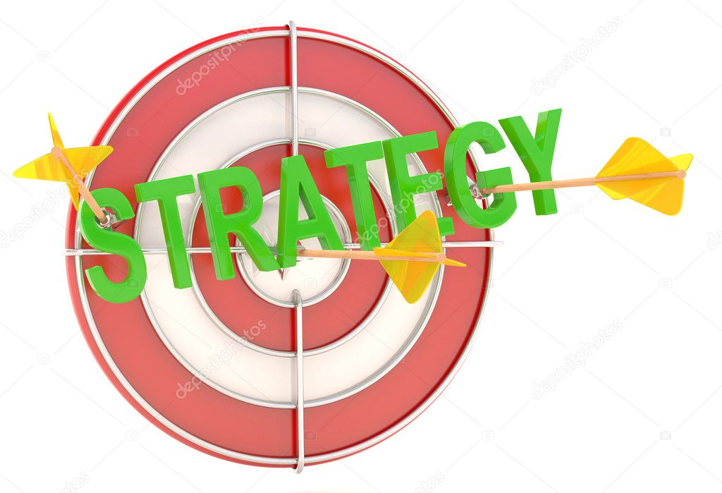 Strategy concept. Dartboard with arrows. 3D model — Stock Photo #9336206