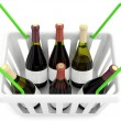 Royalty-Free Stock Photo: Shopping basket with wine bottles