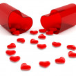 Stock Photo: Hearts in pill. 3D model isolated on white