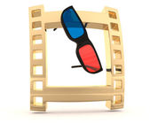 Film frame with 3D glasses — Stock Photo