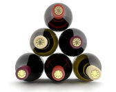 Wine bottles of different colors. 3D set — Stock Photo
