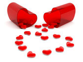 Hearts in pill. 3D model isolated on white — Stock Photo