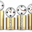 Stock Photo: Clocks of important capitals. Stocks concept
