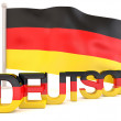 Stock Photo: Germflag with deutsch word. 3D render