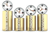 Clocks of important capitals. Stocks concept — Stock Photo