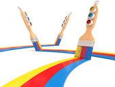 Paintbrush and colorful paint. 3D render — Stock fotografie