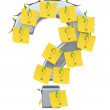 Question mark with sticky notes. 3D model — Stock Photo