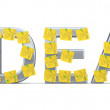 Idea sign with sticky notes. 3D model — Stock Photo