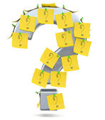 Question mark with sticky notes. 3D model — Foto Stock