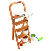 Home Improvement : ladder, paint can and paint roller, brush. 3D — Stock Photo