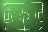 Soccer field with lines on grass — Stock Photo