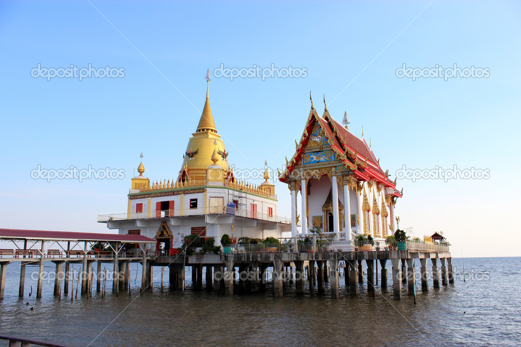 Temple of thailand in sea — Stock Photo #9792878