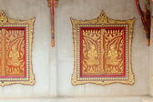 Wooden window of Thai temple in Thailand — Stock Photo