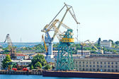 Cargo crane at harbor — Stock Photo