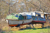 Abandoned boat in the forest — Stock Photo