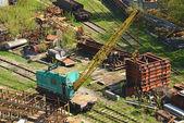Train crane railcar — Stock Photo