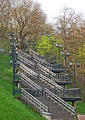 Wooden stairs in the park — Stock Photo