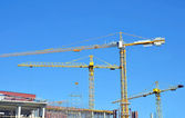 Crane and construction site — Foto Stock