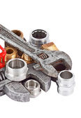 Plumbing pipe, valve and wrench — Foto Stock
