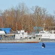 Ship at winter harbor — Stock Photo