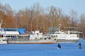 Ship at winter harbor — Stock Photo