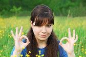 девочка шоу ок символ — Стоковое фото