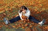 Herbst frau — Stockfoto
