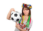 Ukrainian woman with soccer ball — Stock Photo