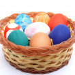 Easter Eggs In a Plastic Plate — Stock Photo