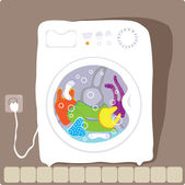 Washing machine that washes clothes color — Stock Vector