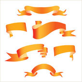 Image of orange ribbons on a white background — Stock Vector