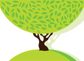 Tree with green leafage. — Stockvector