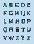 Blue alphabet — Vector de stock