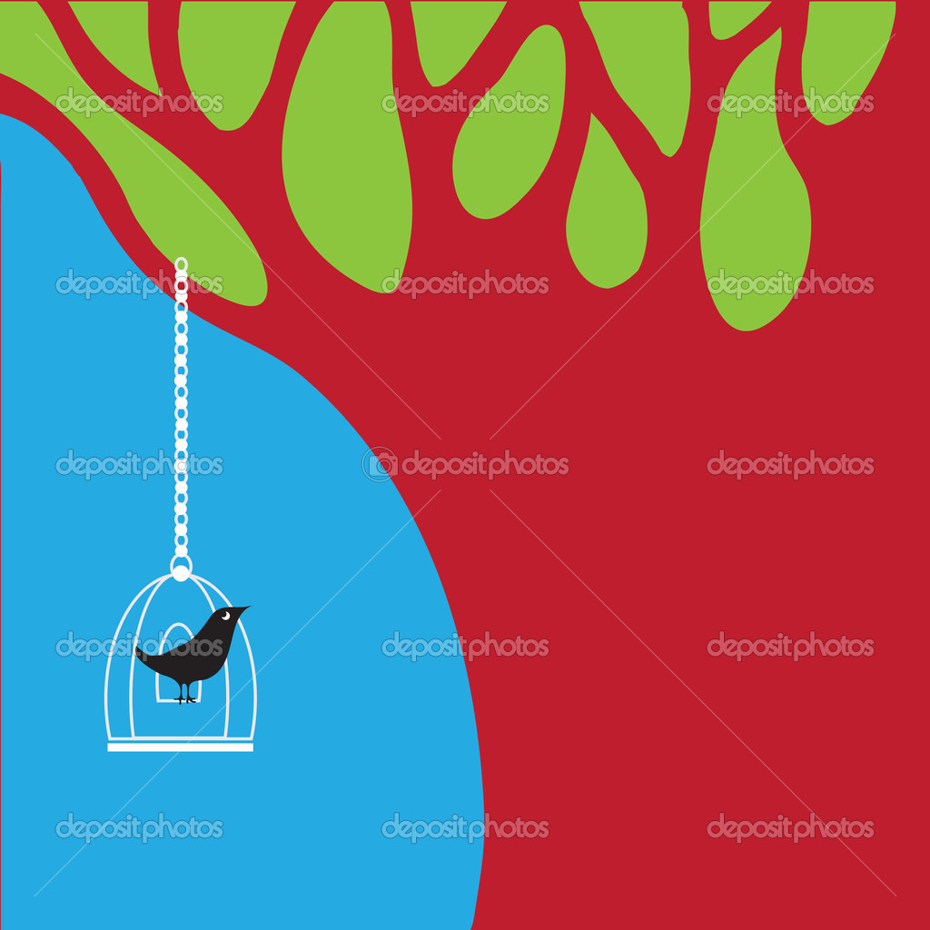 Floral summer background. Bird and cage. Concept vector. — Stock Vector #9807548