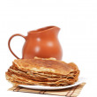 Pancakes and jug - Stock Photo