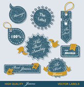 Vintage Styled Premium Quality Labels and Ribbons collection with black grungy design. — Stock Vector