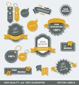 Premium kalite etiketleri ve kurdeleler koleksiyonu ile siyah grungy tasarımı vintage tarzı. — Stok Vektör