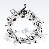 Music notes twisted into a spiral — Stock Vector