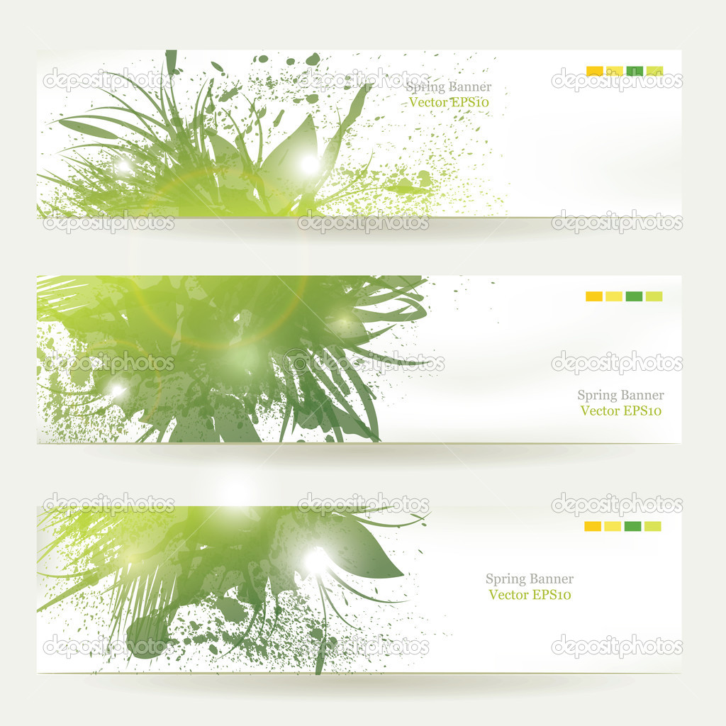 Set of three banners, abstract headers with green blots  — Stock Vector #10431235