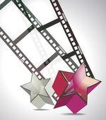 Striscia di pellicola con stelle di vetro 3d — Vettoriale Stock