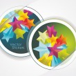 Stock Vector: Stickers and 3d glass stars
