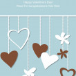 Vector illustration of hearts on strings — Stock Vector