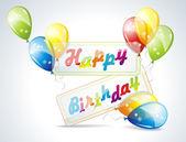 Ilustrace k narozeninám s balónky — Stock vektor