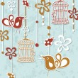 Wedding invitation card with a bird cage and flowers - Stock Vector