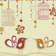 Wedding invitation card with a bird cage and flowers — Imagen vectorial