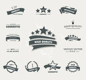Set of vintage retro premium quality badges and labels — Vetor de Stock