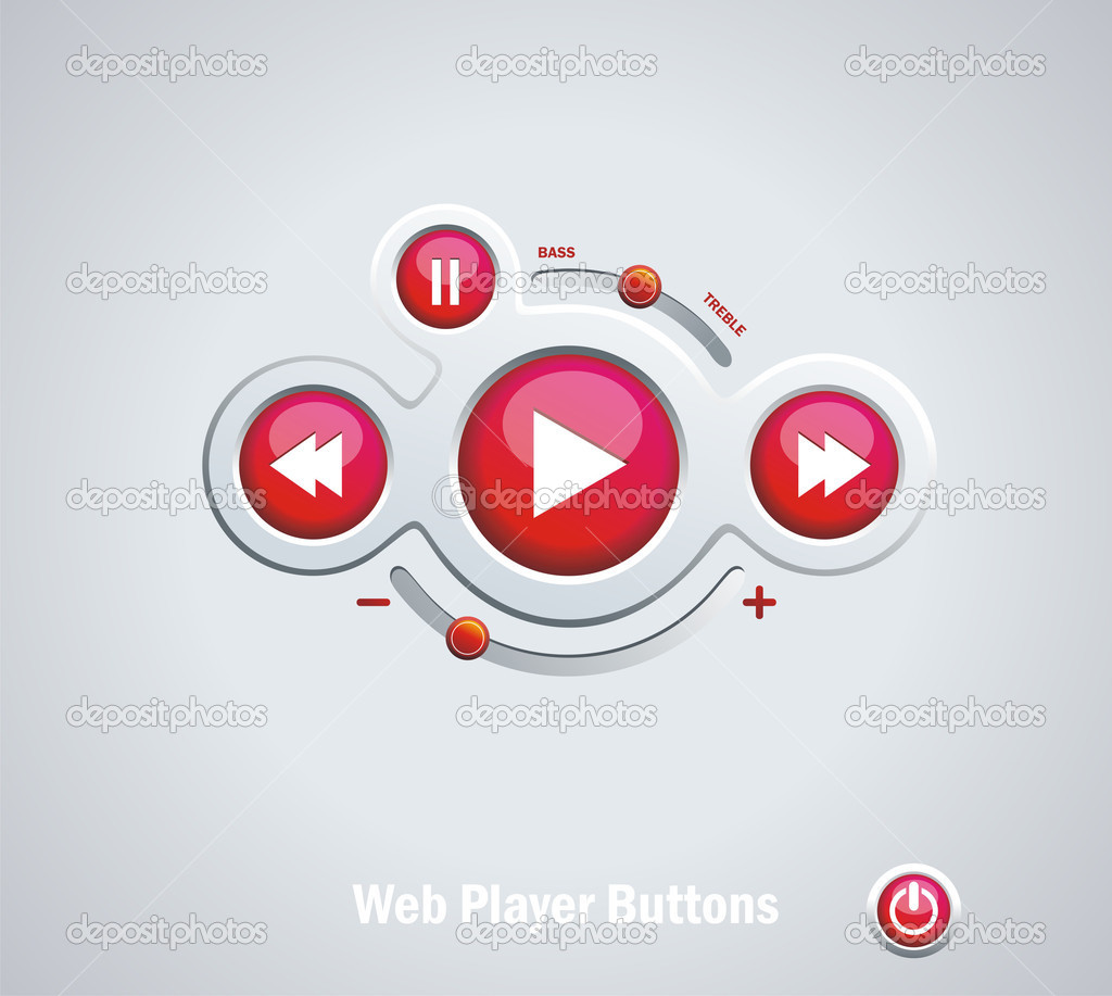 Light  Web Elements: Buttons, Switchers, Player, Audio  Stock Vector #9565823